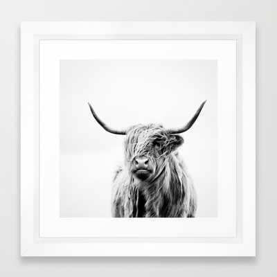 "Portrait of a highland cow - 12"" x 12"" - Framed - Society6"