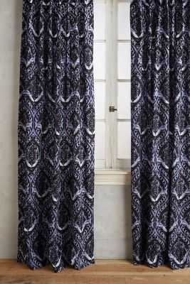 """Tiled Crest Curtain - 96"""" x 50"""" - Charcoal - Anthropologie"""