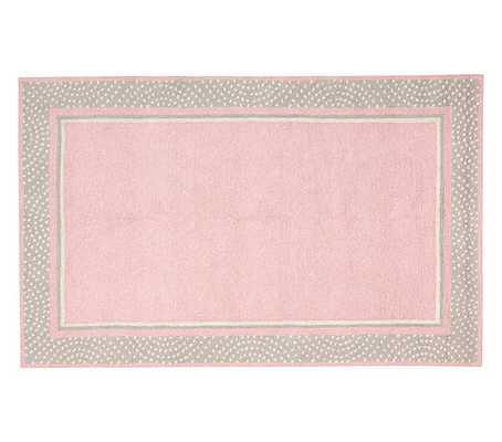 Polka Dot Border Rug - Pink/Gray - Pottery Barn Kids