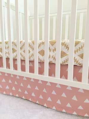 Little Oasis Custom Pink & Gold Prints- crib sheet,changing cover, skirt - Etsy