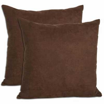 Chocolate Microsuede Throw Pillows (Set of 2) - 18x18, With Insert - Overstock