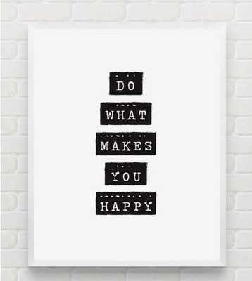 """HAPPINESS: Typography, Wall Art - 11"""" x14""""- Framed - Etsy"""