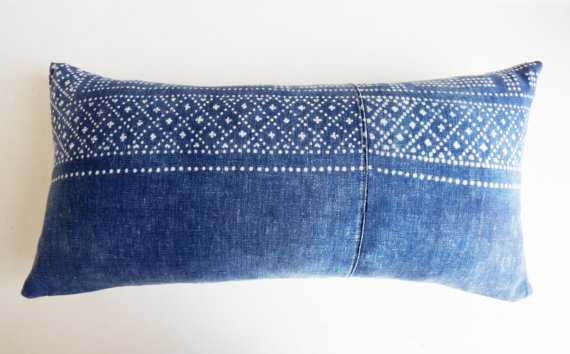 "Chinese Indigo Batik Lumbar Pillow Cover - 11"" x 22"" - Insert Sold Separately - Etsy"