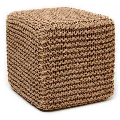 Corded Jute Cube Pouf Ottoman - Natural - Wayfair