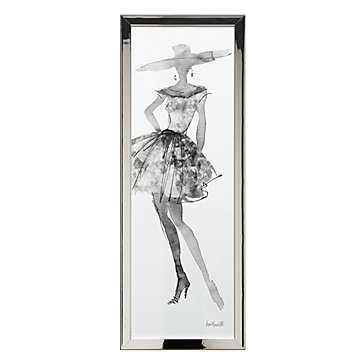 Fashion Sketch 5  - 15.5''W x 39.5''H - Metallic chrome frame - No mat - Z Gallerie