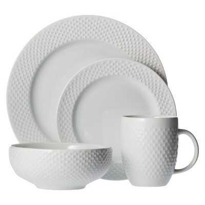 "Thresholdâ""¢ All Over Bead 16 Piece Dinnerware Set - White - Target"