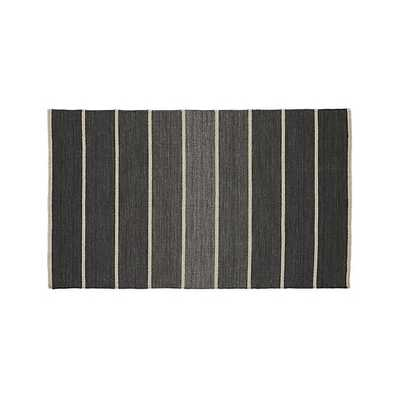 Bold Graphite Grey Striped Wool-Blend Dhurrie 3'x5' Rug - Crate and Barrel