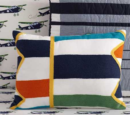 "Multi Color Block Decorative Pillow 12"" x 16"" with insert - Pottery Barn Kids"
