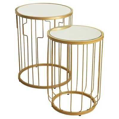 Nesting Tables Gold Mirrored HomePop - Target