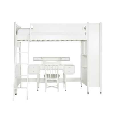 Mid-Century French White Library Bunk Bed with Desk - Wayfair