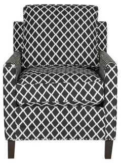 Deema Club Chair, Black/White - One Kings Lane