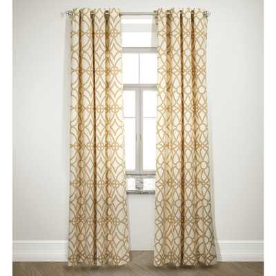 Grid Design Camel Curtain Panel Pair - Overstock