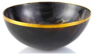 "7"" Horn Bowl w/ Brass, Brown - One Kings Lane"