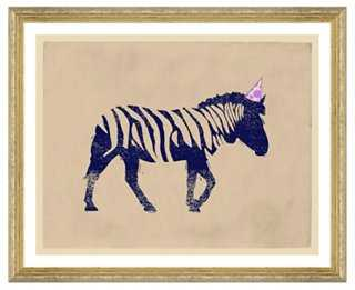 "Party Animals, Zebra - 17'5""x21'5""- Framed - One Kings Lane"