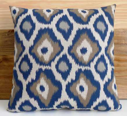 Ikat dots decorative throw pillow cover - 18x18 - Navy blue and gray - Insert Sold Separately - Etsy