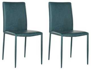 Teal Leather Caldwell Side Chair, Pair - One Kings Lane