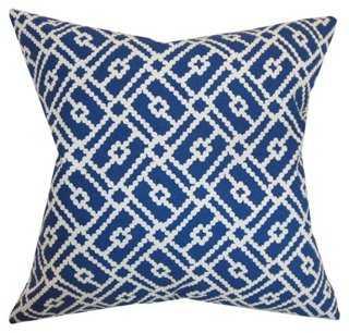 Majkin 18x18 Cotton Pillow, Blue - One Kings Lane