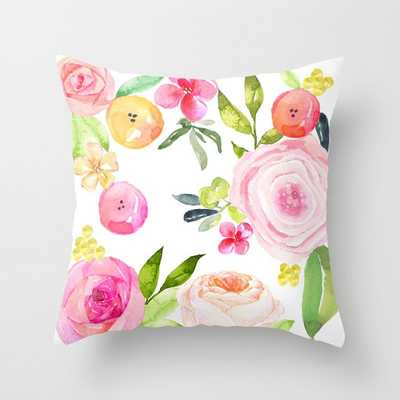 Pretty Spring Floral Watercolor pillow cover, 16''Sq. insert not included - Etsy