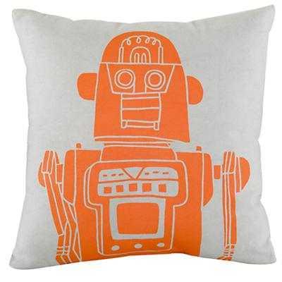 Robot Throw Pillow (Grey) - Land of Nod