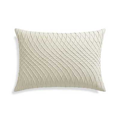 "Averie 22""x15"" Pillow with Feather-Down Insert - Creamy Ivory - Crate and Barrel"