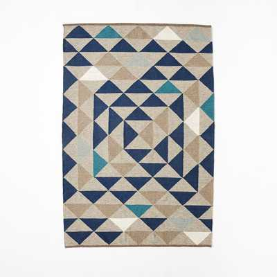 Framed Triangles Wool Kilim Rug - 5x8 - West Elm