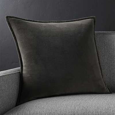 """Brenner Grey 20""""x20"""" Velvet Pillow with Feather-Down Insert - Crate and Barrel"""
