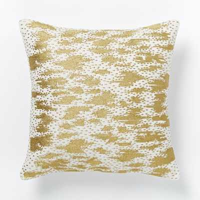 """Embroidered Shimmer Pillow Cover - 16""""sq - Pearl/Gold - Insert sold separately - West Elm"""
