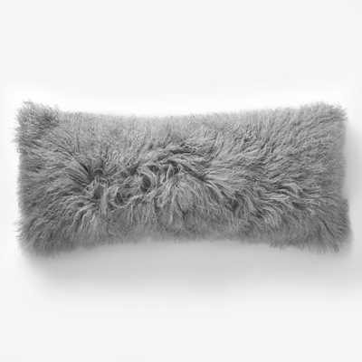 "Mongolian Lamb Pillow Cover - Platinum (14""x36"") - Insert sold separately - West Elm"
