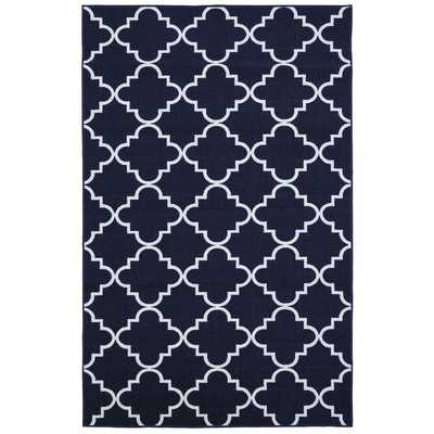 Loop Print Base Fancy Trellis Navy Area Rug - Wayfair