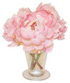 Peonies Pink Parfait in Vase - One Kings Lane
