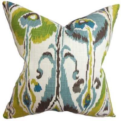 Gudrun Ikat Blue Green Feather Filled 18-inch Throw Pillow - Overstock
