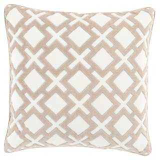 Harmony 18x18 Pillow, Ivory, insert - One Kings Lane
