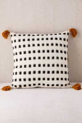 """Locust Salaya Ikat Woven Pillow -18''x 18""""-Black-Insert included - Urban Outfitters"""