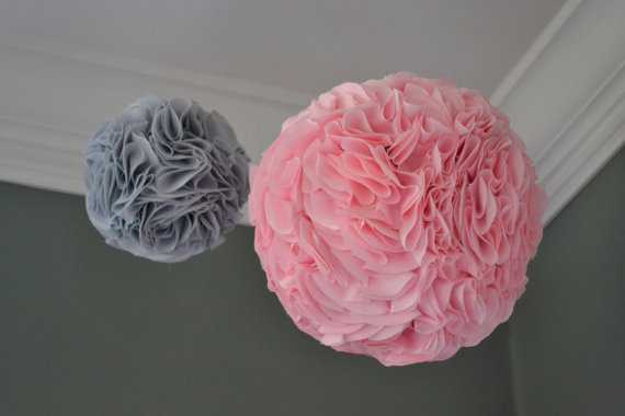 """Fabric Blooms: Set of TWO (one 11"""" and one 9"""") fabric poufs for nursery or playroom - Etsy"""