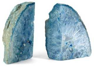 Pair of Agate Bookends, Blue - One Kings Lane