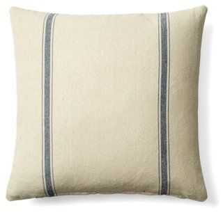 Stripe Cotton Pillow - Cream/Blue - 20x20 - With Feather/down Insert - One Kings Lane