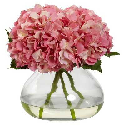 Nearly Natural Large Blooming Hydrangea with Vase - Target