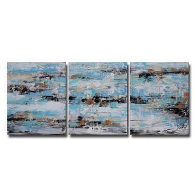 Hand-painted Oil 'Abstract 645' 3-piece Gallery-wrapped Canvas Art Set - Overstock