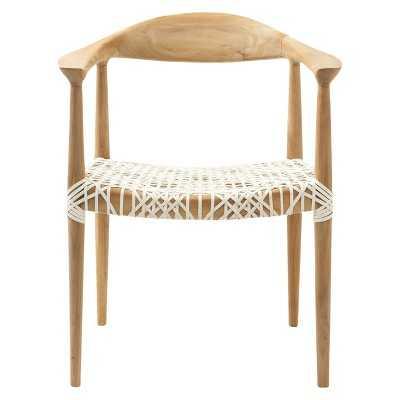 Safavieh Fes Arm Chair - White/Teak - Target