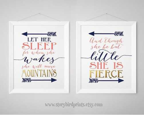 Nursery Print Set - Fierce, Mountains Shakespeare - Etsy