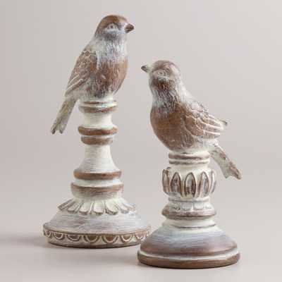 Whitewash Wood Finish Bird Finials, Set of 2 - World Market/Cost Plus
