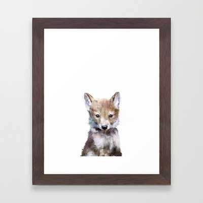 "Little Wolf - FRAMED ART PRINT/CONSERVATION WALNUT MINI (10"" X 12"") - Society6"