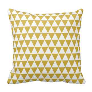 "Triangle Geometric Pattern Mustard Yellow Throw Pillows, 16"", insert - zazzle.com"