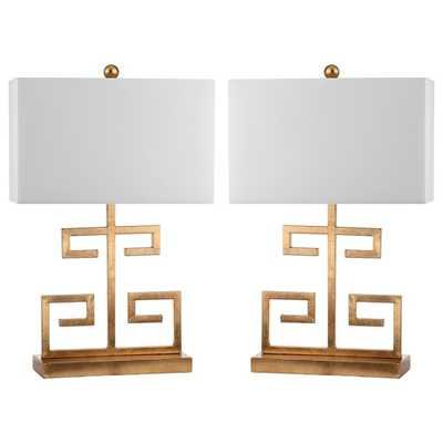 Safavieh Indoor 1-light Gold Greek Key Table Lamp (Set of 2) - Overstock