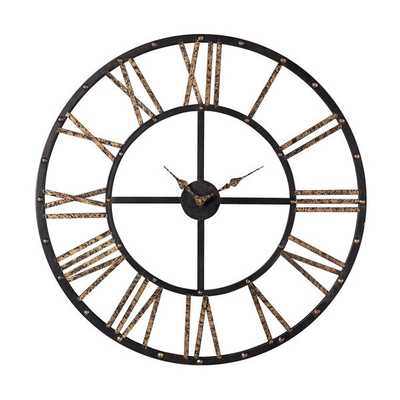 Metal Framed Roman Numeral Open Back Wall Clock - Overstock