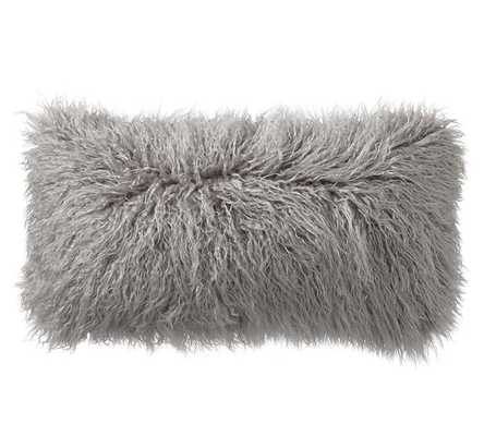 """Mongolian Faux Fur Pillow Cover - Frost Gray - 12"""" x 24"""" - Insert Sold Separately - Pottery Barn"""