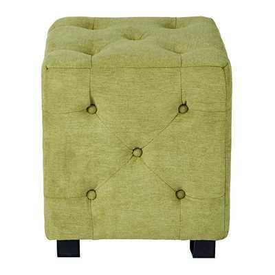 Duncan Tufted Upholstered Cube Ottoman, Green - Wayfair