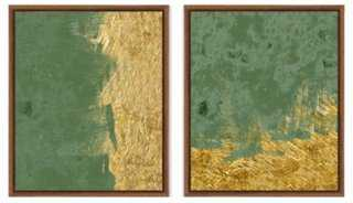 Green and Gold Abstracts - One Kings Lane