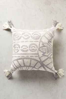 "Rocio Embroidered Pillow -Grey-  20""x20"" - Polyfill - Anthropologie"