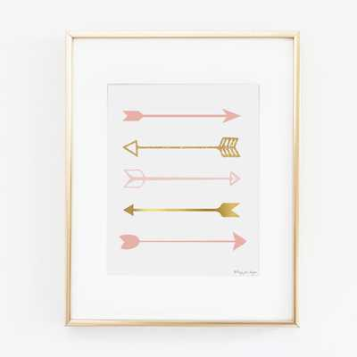 Pink and Gold Arrows Art Print -  8x10 - unframed - Etsy